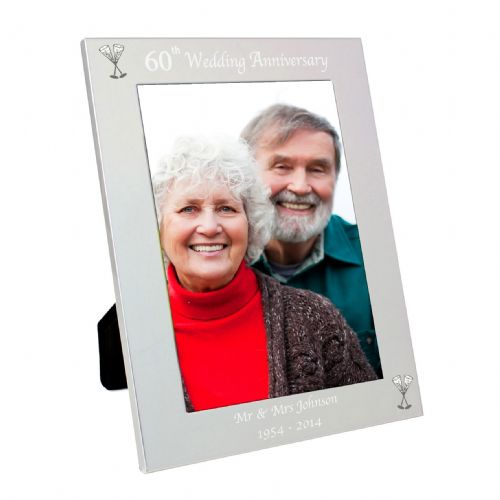 Personalised Silver 5x7 60th Wedding Anniversary Frame